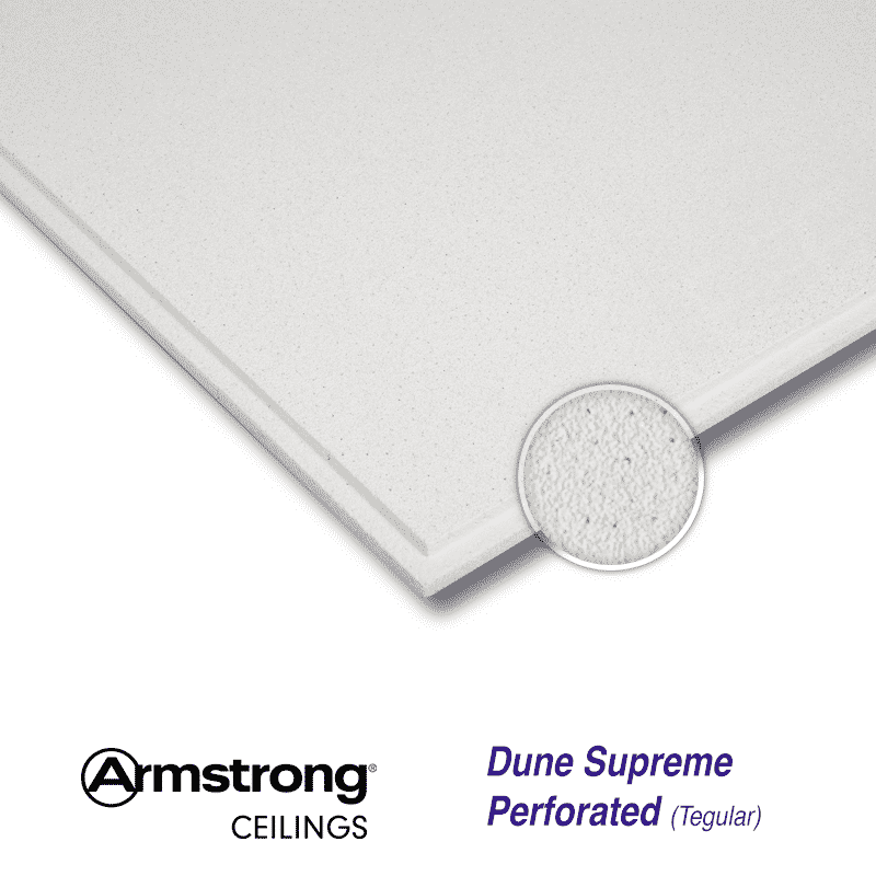 Armstrong Dune Supreme Perforated Tegular Bp2273m 600 X 600mm Reveal Edge 24mm Grid Ceiling Tiles