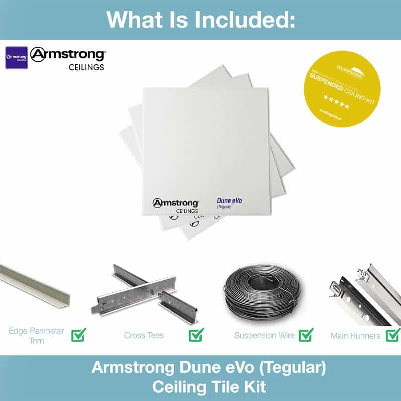 Armstrong Dune Suspended Ceiling Kit 600 X 600mm Tegular